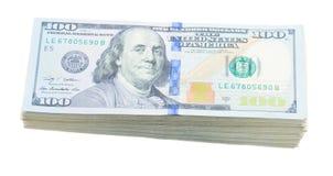 Pilha do dinheiro dos dólares Fotografia de Stock