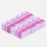 Pilha do dinheiro dos Euros Foto de Stock