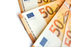 Pilha do euro 50 como o fim do fundo acima Foto de Stock Royalty Free