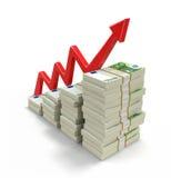 Pilha do Euro e da seta Fotografia de Stock