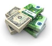 Pilha do Eurodólar 100 Imagens de Stock Royalty Free
