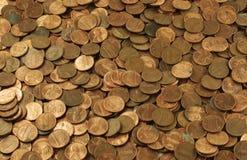 Pilha do fundo das moedas de um centavo Foto de Stock