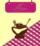 Pilha do menu de Borgonha do sinal com gelado. Vetor ilustração royalty free
