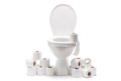 Pilha do papel higiênico em torno de uma bacia de toalete Foto de Stock Royalty Free