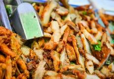 Pilha do pescoço da carne de porco fritada Imagens de Stock Royalty Free