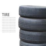 Pilha do pneu isolada no fundo branco Fotos de Stock