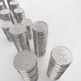 Pilha do sinal de dólar 3d das moedas Fotografia de Stock