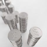 Pilha do sinal de dólar 3d das moedas Imagens de Stock Royalty Free