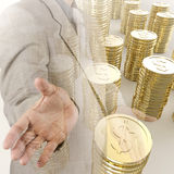 Pilha do sinal de dólar dourado 3d das moedas Imagens de Stock