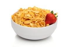 Pilha dos cornflakes em uma bacia Foto de Stock Royalty Free