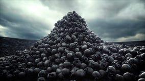 Pilha dos crânios Conceito do apocalipse e do inferno Animação 4k cinemático realística ilustração stock