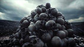 Pilha dos crânios Conceito do apocalipse e do inferno Animação 4k cinemático realística ilustração royalty free
