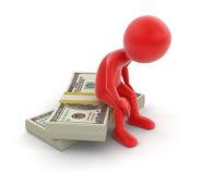 Pilha dos dólares e do homem (trajeto de grampeamento incluído) Foto de Stock Royalty Free