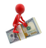 Pilha dos dólares e do homem (trajeto de grampeamento incluído) Fotografia de Stock