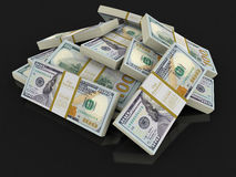 Pilha dos dólares (trajeto de grampeamento incluído) Foto de Stock
