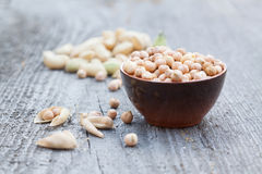 Pilha dos grãos-de-bico Foto de Stock