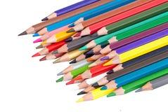 Pilha dos lápis coloridos isolados Fotos de Stock