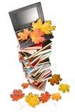 Pilha dos livros, do caderno e das folhas de outono Imagem de Stock Royalty Free
