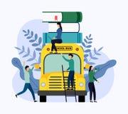 Pilha dos livros no ônibus escolar ilustração stock