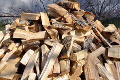 Pilha dos logs de madeira para fundos e texturas interessantes Para ideias criativas fotos de stock