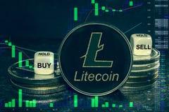 Pilha dos ltc do cryptocurrency da moeda de moedas e de dados A carta a comprar, venda da troca, guarda imagem de stock royalty free