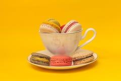 Pilha dos macarons coloridos empilhados acima no copo clássico branco Imagens de Stock