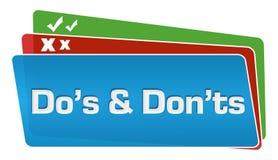 Pilha dos quadrados de Dos And Donts Text Colorful Fotos de Stock