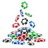Pilha dos símbolos 3d de jogo ou montão de microplaquetas do casino ilustração royalty free