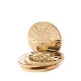 Pilha dos símbolos da moeda do bitcoin isolados Imagem de Stock