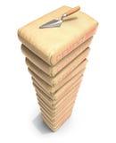 Pilha dos sacos do cimento com pá de pedreiro ilustração do vetor