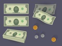 Pilha e moedas do dinheiro Imagem de Stock Royalty Free