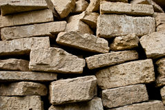 Pilha empilhada dos tijolos Foto de Stock