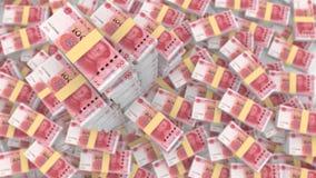 Pilha enorme do chinês aleatório 100 contas de RMB ilustração stock