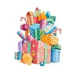 Pilha grande da aquarela de presentes de Natal Fotografia de Stock