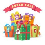 Pilha grande das caixas atuais da venda ilustração royalty free