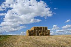 Pilha grande de pilhas retangulares do feno no campo vazio em um fundo do céu azul com nuvens bonitas foto de stock royalty free