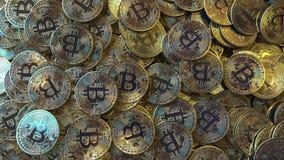 Pilha grande de símbolos do bitcoin rendição 3d Imagem de Stock