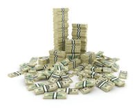 Pilha grande do dinheiro. Dólares verdes dos EUA 3D Fotos de Stock Royalty Free