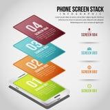 Pilha Infographic da tela do telefone Imagens de Stock