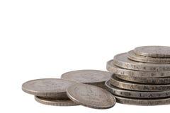 Pilha letão velha da moeda de prata dos lats Imagens de Stock Royalty Free