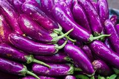 Pilha longa violeta da planta de ovo do brinjal no supermercado varejo para a venda em india foto de stock royalty free