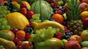 Pilha molhada deliciosa do fruto - bem-estar da dieta vídeos de arquivo