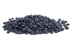Pilha pequena de lentilhas pretas da beluga fotografia de stock