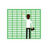 Pilha profissional da operação bancária da abertura do trabalhador do homem Caixas de depósito seguro 2 Caráter masculino dos des ilustração stock
