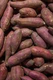 Pilha roxa fresca dos batatas doces Batata doce para a venda no mercado local fundo cofred do 'batata doce', pilha do 'batata doc fotografia de stock royalty free