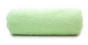 Pilha verde de toalhas coloridas arco-íris Foto de Stock