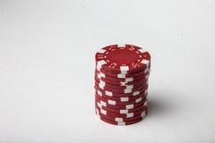 Pilha vermelha da microplaqueta de pôquer fotos de stock royalty free