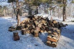 Pilhas da lenha na terra nevado no inverno para a chaminé e no calor para viver em casa foto de stock