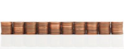 Pilhas da moeda do dinheiro do Euro, colheita panorâmico larga Foto de Stock