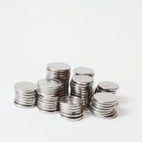 Pilhas da moeda do metal foto de stock